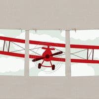 Baby Boy Nursery Art Airplane Print Set -  Red & Navy blue, Set of 3, each 11x14