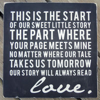 Vintage Inspired Wood Sign Our Sweet Little Story by 13pumpkins