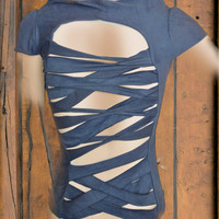 Blue Striped tshirt by saravah on Etsy