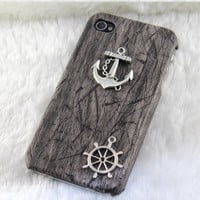 Vintage silver anchor &amp; rudder,PU leather Black Hard Case Cover--for Apple iPhone 4 Case, iPhone 4s Case, iPhone 4 Hard Case