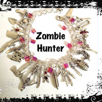 ZOMBIE HUNTER Charm Bracelet Walking Dead by princessofscraps