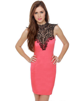 Romantic Lace Dress - Coral Dress - Open Back Dress - Pink Dress - $40.00
