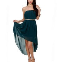 Beautiful Strapless Dress - Navy Blue Dress - Dark Teal Dress - High Low Hem Dress - $44.00