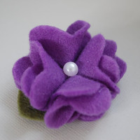 Perfect Posy Felt  Hair Clip in Purple with by PosiesandPetals
