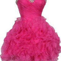 Amazon.com: Beaded Organza Florettes Mini Prom Dress Formal Gown Junior and Junior Plus Size: Clothing
