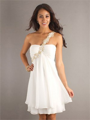 Long Sleeve White Dress on One Long Sleeve A Line Open Back White Knee Length With Applique Prom
