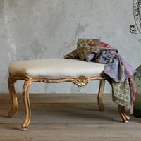 Charming Gold Bench with Cream Cotton Upholstery