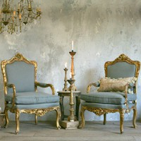 Vintage Glam Gold Gilt Armchairs in Blue