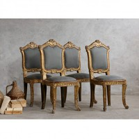 Louis XVI Vintage Side Chairs in Old Distressed Gold