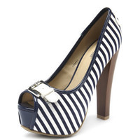 Charlotte Russe - Belted Stripe Peep-Toe Pump