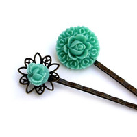 Hair pins Teal Flower lotus Set of 2 by JPwithLove on Etsy