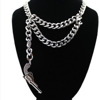 Chunky Gold Metal Link Pistol Gun Layer Double Chain Statement Necklace Rihanna