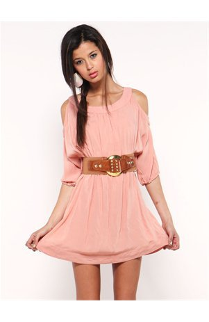 A&#x27;GACI Belted Cold Shoulder Challis Dress - Dresses