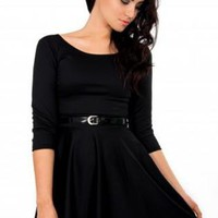 Black Skater Dress with Black Patent Skinny Belt