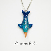 Narwhal Necklace Le Wandering Narwhal Totem Made to by leanimale