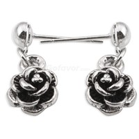 Vintage Silver Tone Rose Flower Stud Drop Earrings at Online Cheap Vintage Jewelry Store Gofavor