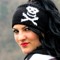 Hand Knit Skull Headband Black &amp; White Ear Warmer by EmofoFashion and NEW Colors too. Women Headband, Hair cover