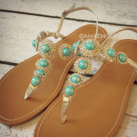 St. Tropez Turquoise Gem Stone Sandals