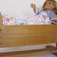 "Handmade Wooden Doll Cradle with Princess Quilt for 18"" Doll"