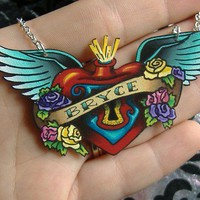 Old School Style Tattoo Necklace with Sacred Heart by orangyredink