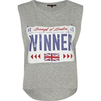 grey marl winner tank top - vests - t shirts / vests / sweats - women - River Island