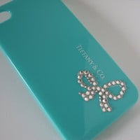 Tiffany iPhone case -  Bottom Ribbon, Tiffany iPhone 4s case, Tiffany iPhone 4 case, Tifanny Bling Case