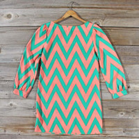 Cucumber Melon Chevron Dress, Sweet Women's Bohemian Clothing