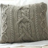 Handmade Wool Knit Cabled Pillow Sham Ready To by PreciousKnits