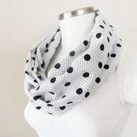 polka dot infinity, scarf, polka dot scarf, white and black scarf