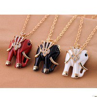 [grlhx1100002]Retro Cute Elephant Necklace