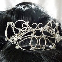 silver wire tiara handmade by gringrimaceandsqueak on Etsy