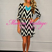 Coffee Date Chevron Belted Dress