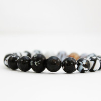 black agate bracelet crab agate beaded bracelet black by BeaKez