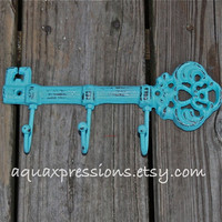 Aqua Key Hook /Cast Iron /Wall Hanger/ White by AquaXpressions
