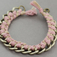 Woven Chain Bracelet : Neutral, Blush and Taupe Antique Chain Double Wrap Bracelet with Woven Pink and Brown Cotton Cord.