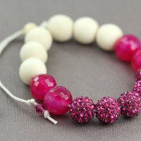 Pink Beaded Pave Bracelet : Adjustable Bracelet with Fuchsia Shambala Beads, Whitewood Beads and Pink Agate Semi Precious Stone Beads