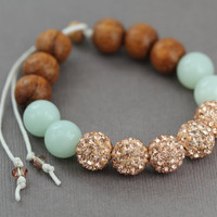 Rose Gold Beaded Pave Bracelet : Adjustable Bracelet with Champagne Shambala Beads, Amazonite Beads, Rosewood Wood Beads, White Cotton
