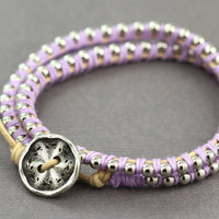 Wrap Bracelet : Adjustable Silver Ball Chain Wrap Bracelet with Lilac Purple Cotton Thread and Natural Cotton Cord, Brushed Button Closure
