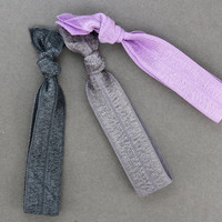 Hair Ties : Set of Three Elastic Ribbon Hair Ties, Ponytail, Bun, Top Knot, Bracelet, Cool Tone, Purple, Lilac, Silver, Grey - Artisan Tree