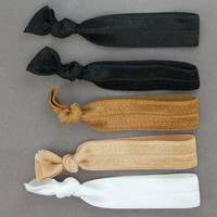 Hair Ties : Set of Five Elastic Ribbon Hair Ties, Ponytail, Bun, Top Knot, Bracelet, Neutral, Black, Brunette, Blonde - Artisan Tree