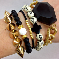 Black and White Stacked Bracelet Set