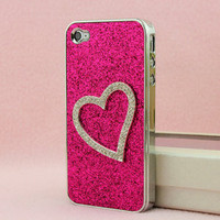 Shiny Heart-shaped Relief Frosted Hard Cover Case for Iphone 4/4s/5