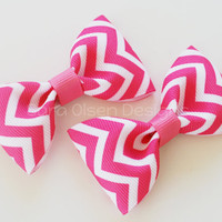 Chevron Hair Clips, Set of 2 Hair Clips, Simple Bow Tie Tuxedo Hairbows, Toddler Pigtails, 2 1/2 inch Bow, 2.5, Hot Pink White, Christmas