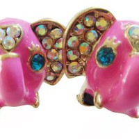 Pink Big Eye Elephant Stud Earrings