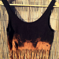 Crop Top with Fringe Boho Navajo Hippie Dip by UnraveledClothing