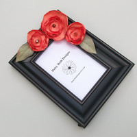 Photo Frame Spring Tangerine Flowers Black by daisybethdesigns