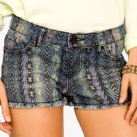 Southwestern Denim Shorts
