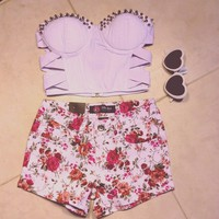 White Floral Shorts from Belle La Vie Boutique