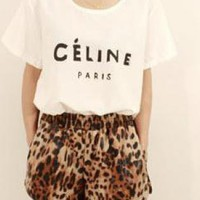 faux leather wild leopard shorts