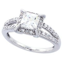 14K White Gold Rhodium Plated Sterling Silver Wedding & Engagement Ring Vintage Style Solitaire Ring For Women 9MM ( Size 6 to 9)